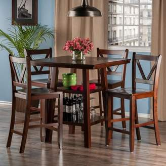 Winsome Wood Orlando 5-Pc Set High Table, 2 Shelves w/ 4 V-Back Counter Stools