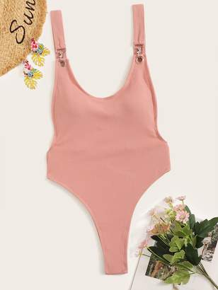 c7512311c2 Shein Low Back Ribbed High Cut One Piece Swimsuit