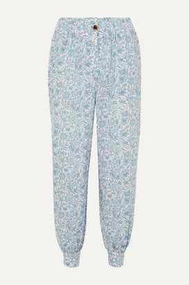 Nackiyé - Patmos Printed Cotton-gauze Tapered Pants - Blue