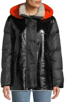Yves Salomon Army Lamb Shearling & Leather Down Jacket