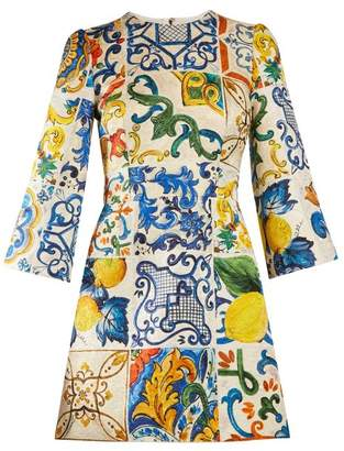 Dolce & Gabbana Majolica Print Brocade Dress - Womens - White Print