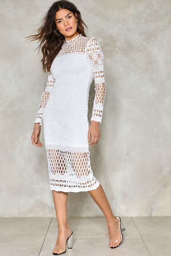 nastygal Coast Along Crochet Midi Dress