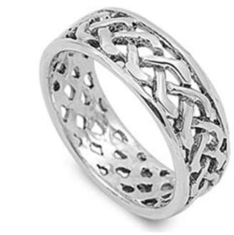 Celtic Noureda Sterling Silver Knot Wide Band Ring with Face Height of 8MM