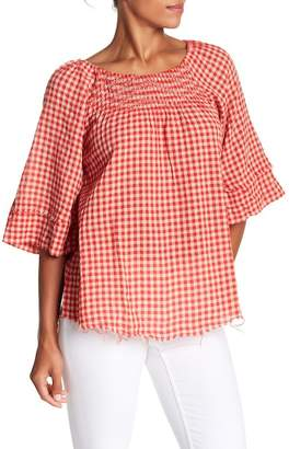 Democracy Gingham Flare Sleeve Blouse