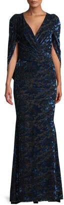 Talbot Runhof Rosin Surplice Tapestry Velvet Jacquard Mermaid Evening Gown