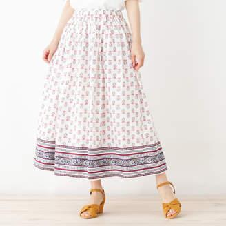 PINK adobe (ピンク アドベ) - ピンクアドベ pink adobe パネル柄ギャザースカート (オフホワイト)