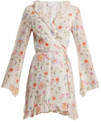 Athena Procopiou - Gold In The Air Of Summer Wrap Silk Dress - Womens - White Print