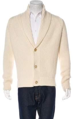 Maison Margiela Rib Knit Wool Shawl Cardigan