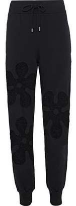 Moschino Lace-Paneled Cotton-Terry Track Pants
