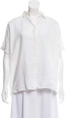 La Garçonne Moderne Button-Up Linen Top
