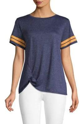 C&C California Striped Knot-Front T-Shirt