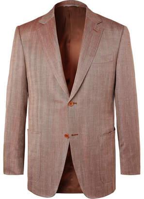 Canali Brown Slim-Fit Unstructured Herringbone Wool, Silk And Linen-Blend Blazer