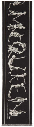 Alexander McQueen Black and Off-White Dancing Skeleton Scarf