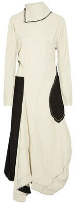 Acne Studios Frayed Cutout Linen-Blend Midi Dress