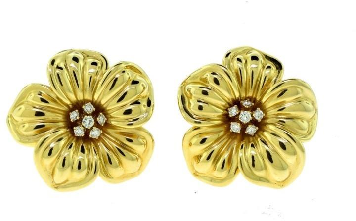 Van Cleef & ArpelsVan Cleef & Arpels 18K Yellow Gold Diamonds Magnolia Earrings
