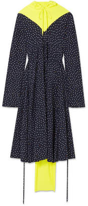 Vetements Cotton Fleece-paneled Printed Silk Crepe De Chine Dress - Navy