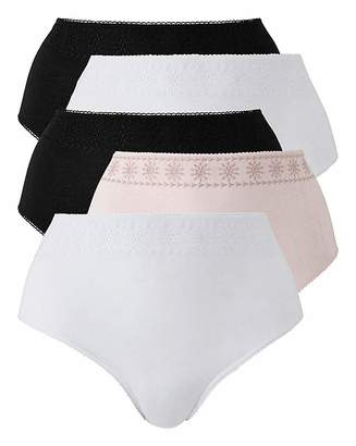 Naturally Close 5PK BLK/WHT/PINK Broderie Anglaise Brief