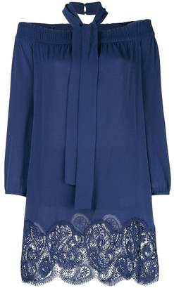 Michael Kors scalloped hem lace trim halter dress