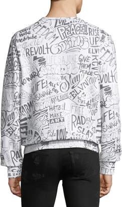 Eleven Paris Resist Crewneck Graffiti-Print Sweatshirt