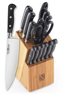 N. Cook Home 02630 15-Piece Knife Set with Storage Block, Stainless Steel