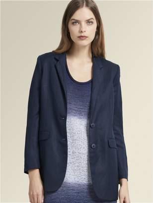 DKNY Twill Linen Two-Button Long Blazer