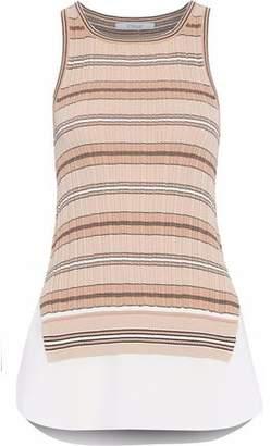 Derek Lam 10 Crosby Layered Striped Stretch-Knit Cotton Top