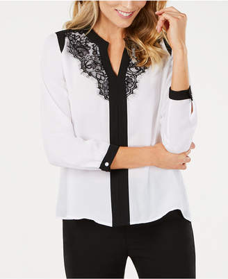 NY Collection Petite Y-Neck Lace-Trim Top