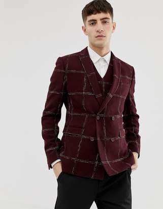 Asos DESIGN Slim Double Breasted Blazer In Moons Wool Rich Burgundy Check