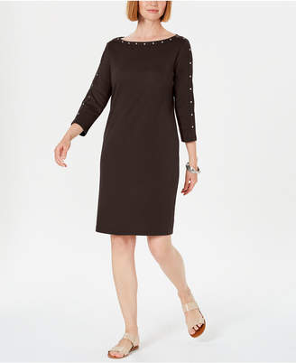 Karen Scott Cotton Studded 3/4-Sleeve Shift Dress