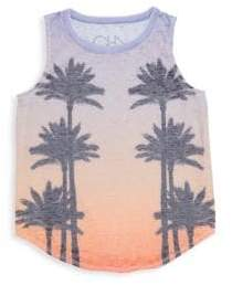 Chaser Little& Big Girl's Sunset Palms Tank Top