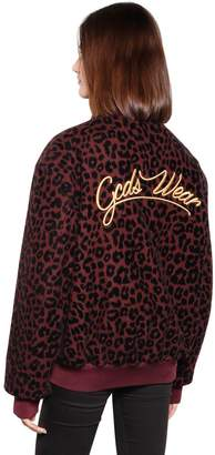 Leopard Flocked Wool Blend Bomber Jacket