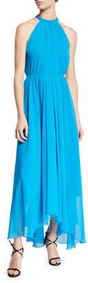 Saloni Irina Sleeveless Leopard-Print Asymmetric Dress