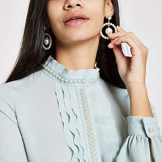 River Island Light green pearl trim frill blouse