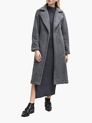 Arabella Faux Shearling Long Coat, Charcoal Grey