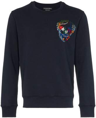 Alexander McQueen embroidered skull cotton sweatshirt