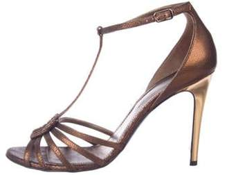 Lanvin Embossed Leather Sandals Brown Embossed Leather Sandals