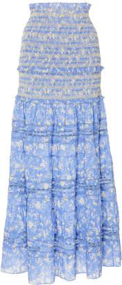 LoveShackFancy Olive Cotton Maxi Flare Skirt