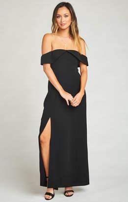 Show Me Your Mumu Upton Off Shoulder Maxi Dress ~ Black Crinkle Stretch