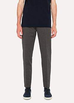Paul Smith Men's Tapered-Fit Slate Grey Cotton-Linen Pants
