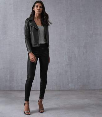 Reiss Lux Coated Coated Mid Rise Skinny Jeans