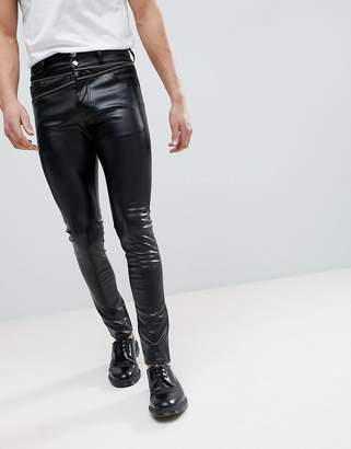 Asos Design Super Skinny Jeans In Black Faux Leather With Zip Details