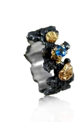 Karolina Bik Jewellery - Scoria Ring With Natural Blue Topaz
