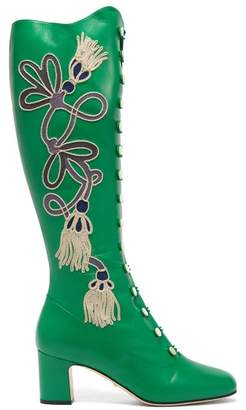 Gucci Amaya Embroidered Leather Boots - Womens - Green
