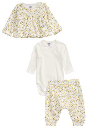 Petit Bateau Floral Cardigan, Long Sleeve Bodysuit & Pants Set