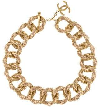 Chanel Crystal Encrusted Curb Chain Necklace