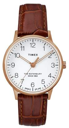 Timex R) Waterbury Leather Strap Watch, 36mm