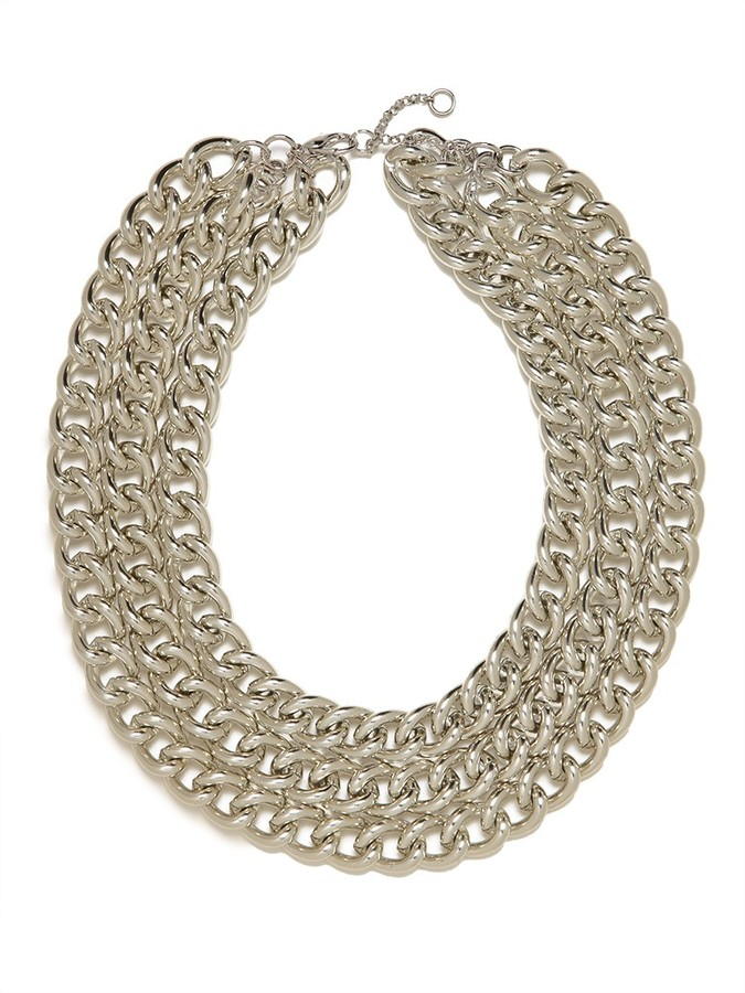 BaubleBar Silver Triple Chain Necklace