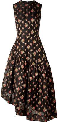 Simone Rocha Asymmetric Fil Coupé Organza Midi Dress - Black