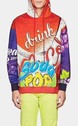 Moschino MEN'S SOFT-DRINK-PRINT COTTON FRENCH TERRY HOODIE SIZE 52 EU