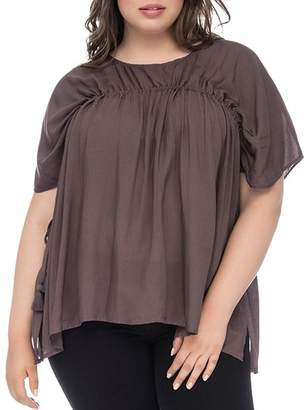 Bobeau B Collection by Curvy Tassel Drawstring Top